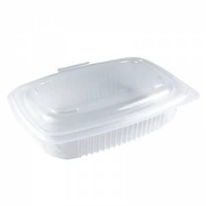 envase de plástico para microondas de pp rectangular con cierre de bisagra, de 600cc