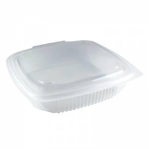 envase  de plástico para microondas de pp rectangular con cierre de bisagra, de 750cc