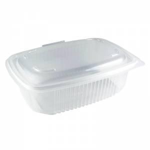 envase de plástico para microondas pp rectangular con cierre de bisagra, de 800cc