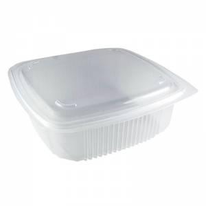 envase de plástico para microondas de pp rectangular con cierre de bisagra, de 1200cc