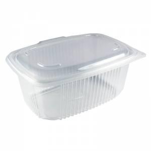 envase de pp rectangular con cierre de bisagra, de 1000cc para microondas