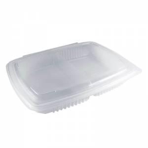 envase de plástico para microondas de polipropileno con cierre de bisagra de 1450cc con dos compartimentos.