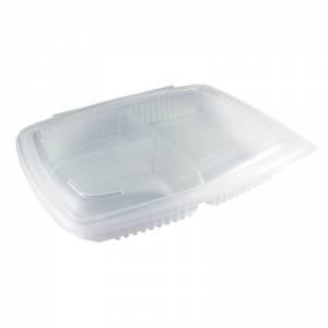 envase de plástico para microondas de polipropileno transparente con cierre de bisagra de 1380cc con tres compartimentos