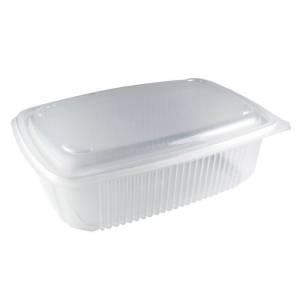 envase de plástico para microondas de pp rectangular con cierre de bisagra, de 1220cc