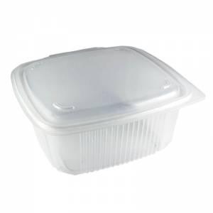 envase de plástico para microondas de pp rectangular con cierre de bisagra, de 1500cc