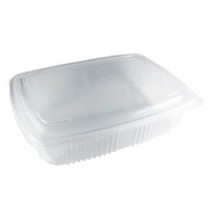 envase de plástico para microondas de pp rectangular con cierre de bisagra, de 2500cc