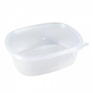 envase de plástico para microondas ovalado de pp de alta resistencia con cierre de seguridad de 370cc