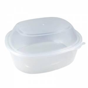 envase de plástico para microondas ovalado de pp de alta resistencia con cierre de seguridad y tapadera alta de 2200cc