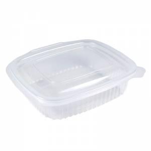 envase de plástico para microondas transparente con cierre bisagra de 375cc