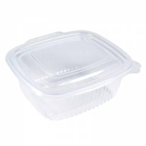 envase de plástico para microondas transparente con cierre bisagra de 500cc