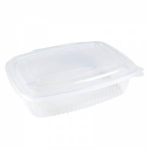 envase de plástico para microondas transparente con cierre bisagra de 750cc