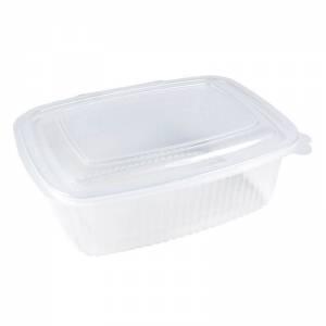 envase de plástico para microondas transparente con cierre bisagra de 1000cc