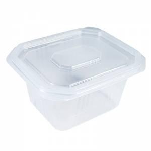 envase de plástico para microondas pp transparente con tapadera independiente de 500cc