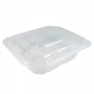 envase de plástico para microondas transparente con tapadera independiente de 750cc