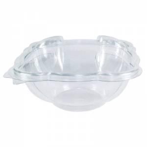 ensaladera de plástico desechable con cierre de bisagra de 750cc para ensaladas