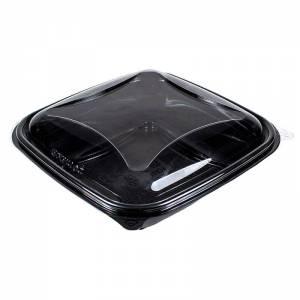 ensaladera de plástico cuadrada negra con tapadera transparente e independiente de 500cc para ensaladas frias
