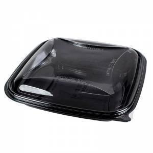 ensaladera de plástico cuadrada de apet negra con tapadera transparente e independiente de 750cc para ensaladilla y fruta