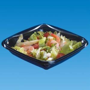 ensaladera cuadrada de apet negra con tapadera transparente e independiente de 750cc con alimentos