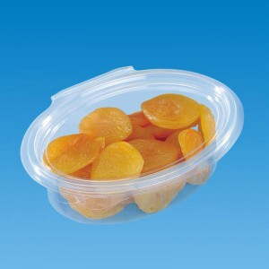 envase de pet ovalado con cierre de bisagra de 150cc con alimentos