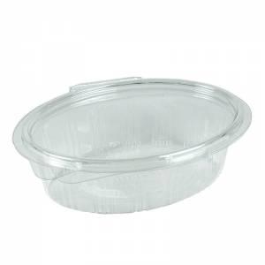 envase de plástico desechable ovalado con cierre de bisagra de 250cc