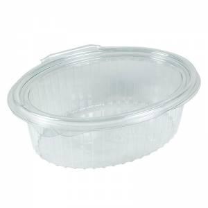 envase de plástico desechable ovalado con cierre de bisagra de 500cc