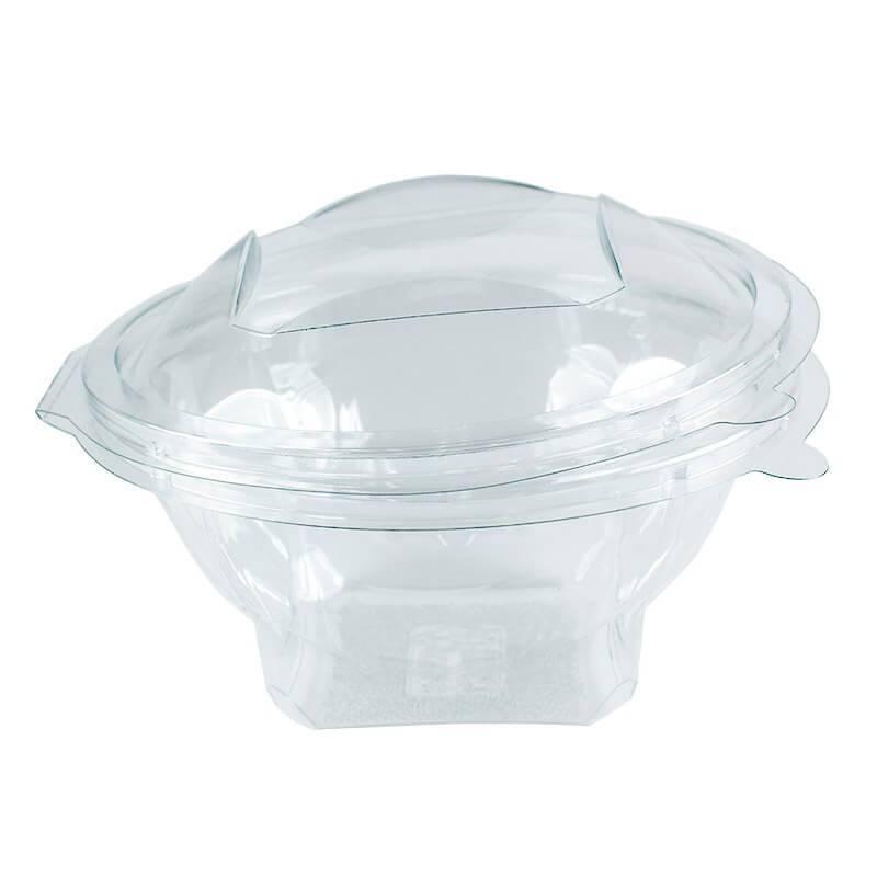 ensaladera desechable de apet transparente con cierre de bisagra de 370cc