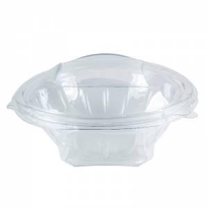 ensaladera desechable de apet transparente con cierre de bisagra de 600cc