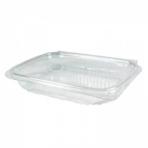 envase de plástico rectangular con cierre bisagra de pet de 250cc para uso frío