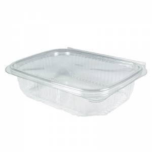 envase rectangular con cierre bisagra de pet de 450cc para uso frío