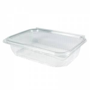 envase de plástico rectangular con cierre de bisagra de 600cc para uso frío