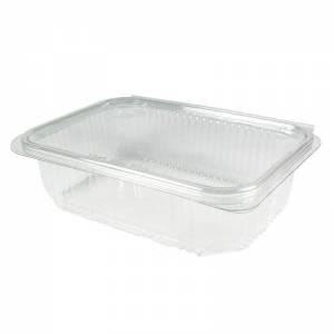 envase de plástico rectangular con cierre de bisagra de 750cc para uso frío