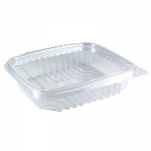 tarrina de plástico con tapa bisagra rectangular transparente de 250cc