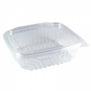 tarrina de plástico con tapa bisagra rectangular transparente de 375cc