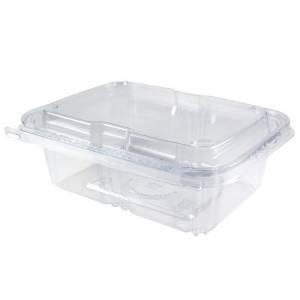 envase de plástico con cierre de seguridad rectangular de 750cc. para alimentos frios