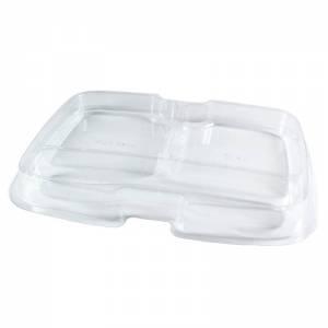 bandeja con compartimentos de pet transparente.