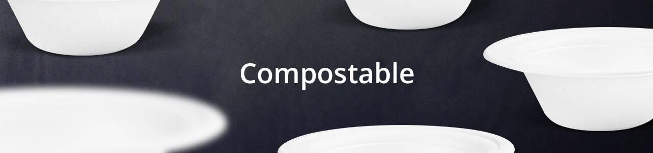 Envases desechables Compostables para uso en el sector alimentario.