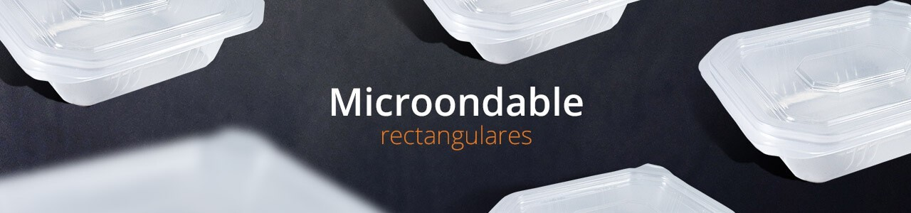Envases para microondas rectangulares de polipropileno.