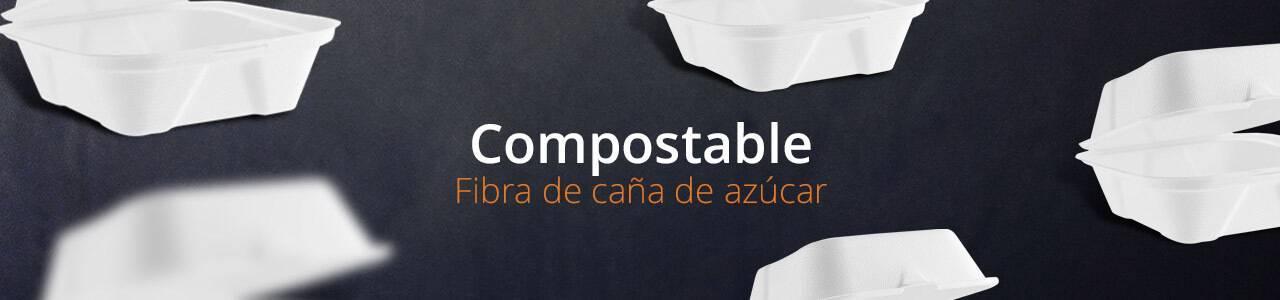 Envases Compostables de Fibra de caña de azúcar | Envases Take Away para Alimentación