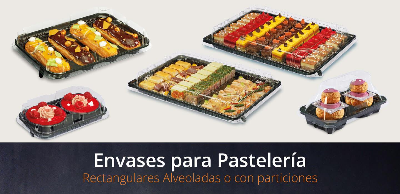 Envases para pastelería rectangulares alveoladas