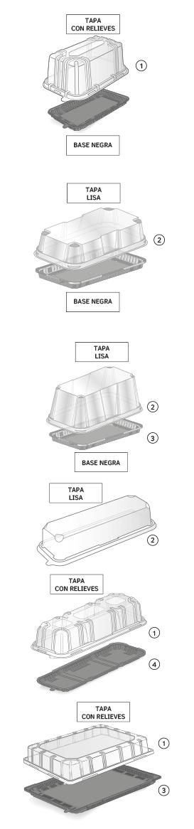 Leyenda envases pastelería rectangular